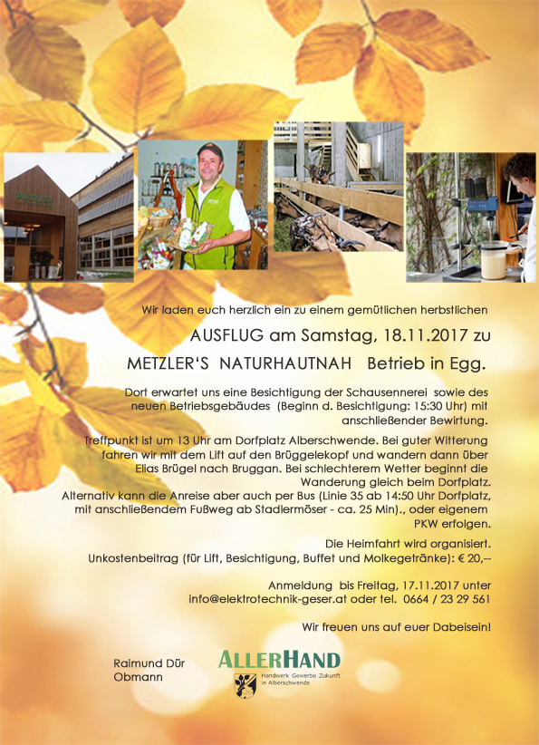 AUSFLUG am Samstag, 18.11.2017 zu Metzler's Naturhautnah Betrieb in Egg